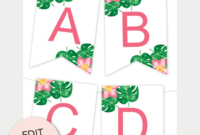 Tropical Printable Banner | Printable Birthday Banner intended for Free Letter Templates For Banners