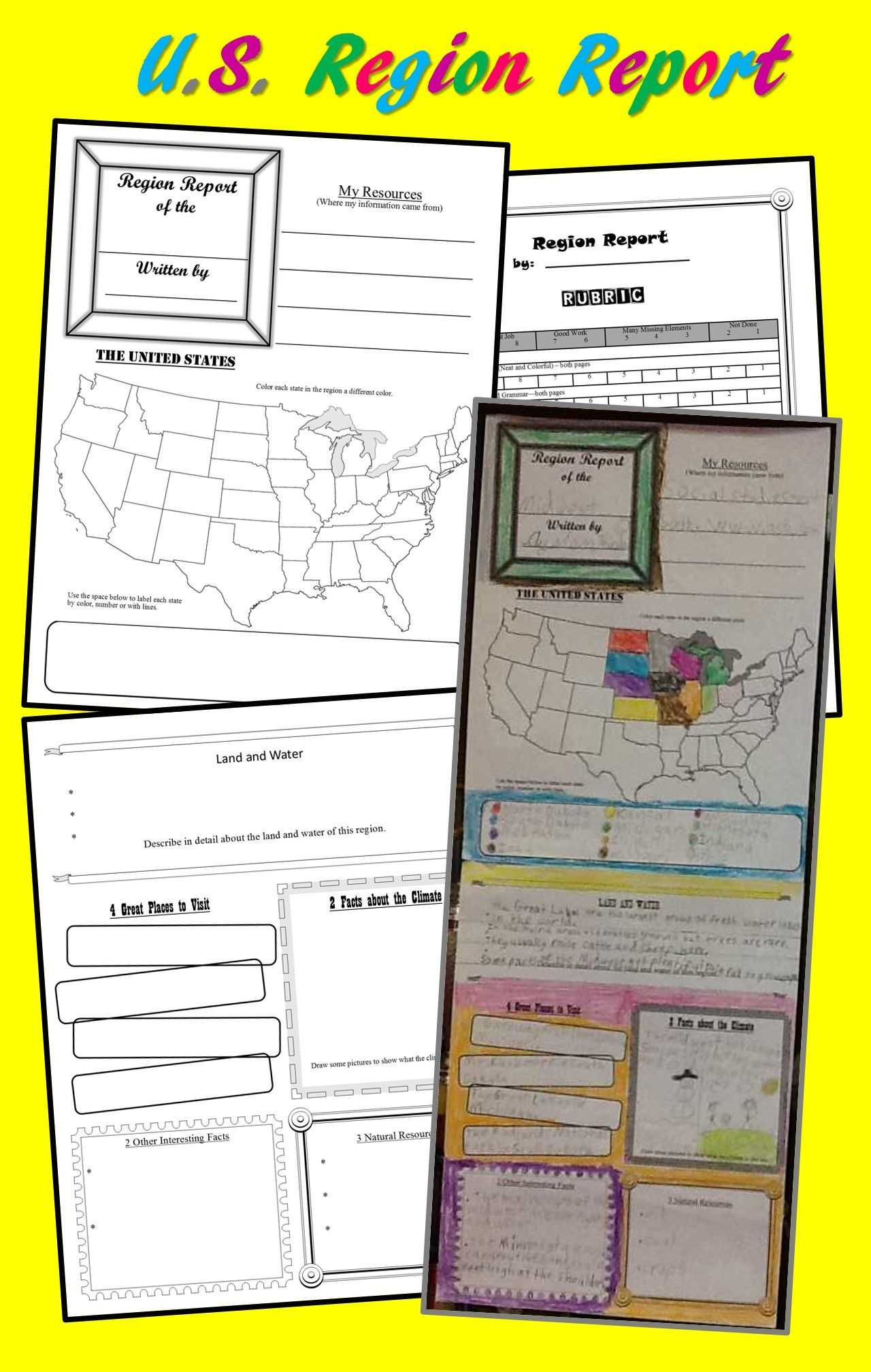 U.s. Region Report (Poster) Template For Intermediate Grades for State Report Template