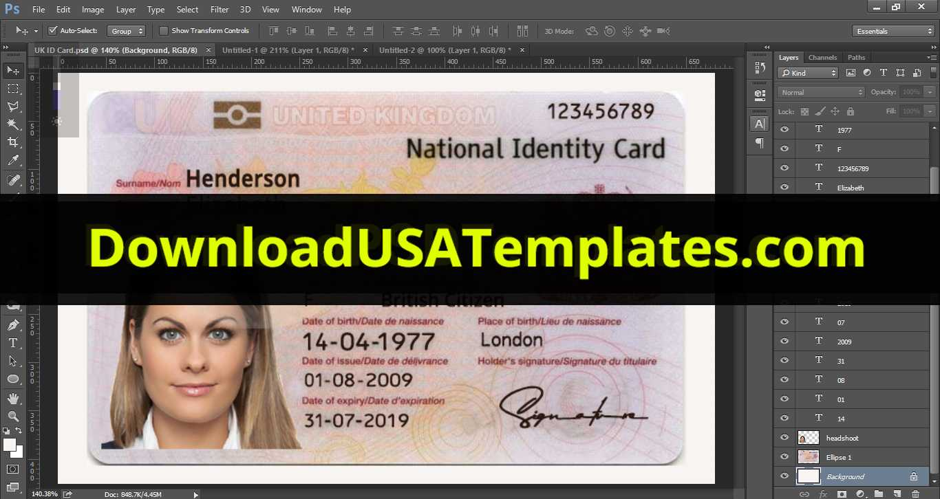 United Kingdom National Identity Card Template [Uk Id Card] Intended For Georgia Id Card Template