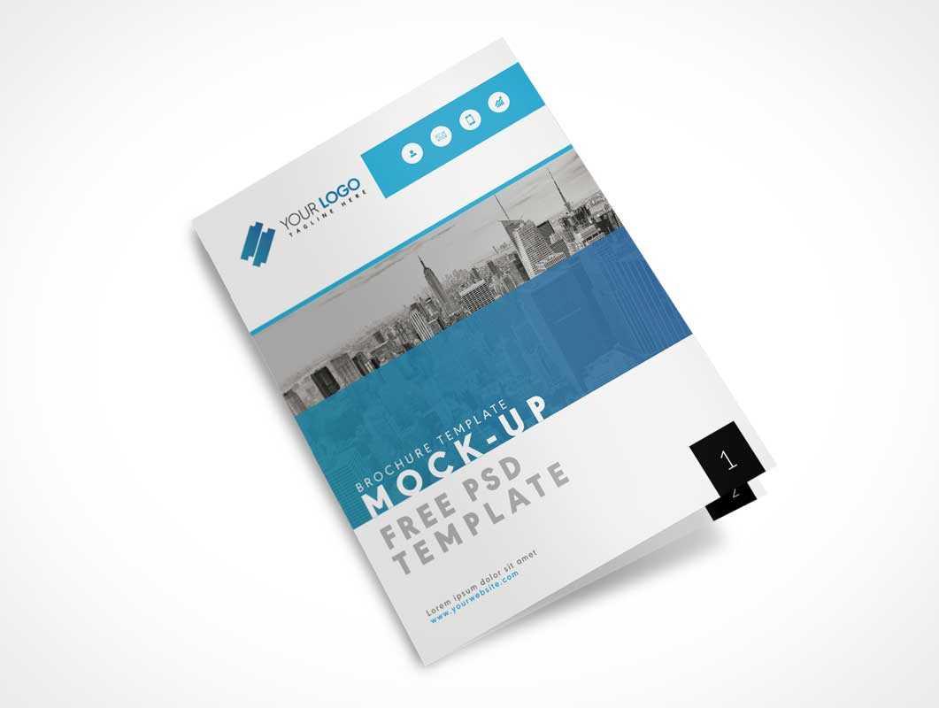 Us Letter Size Bi Fold Brochure Cover Psd Mockup - Psd Mockups With Letter Size Brochure Template