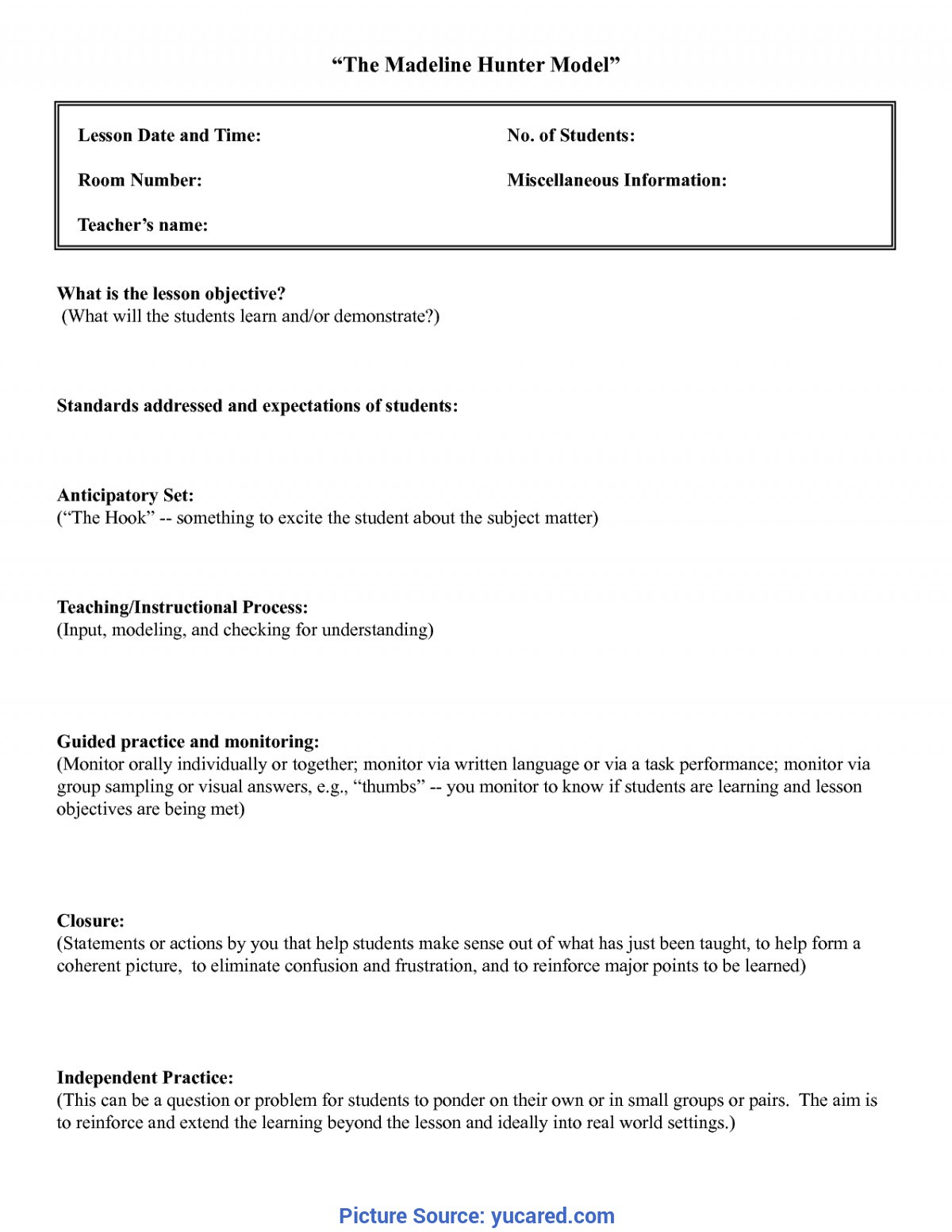 Useful Madeline Hunter Lesson Plan Guide Madeline Hunter pertaining to Madeline Hunter Lesson Plan Blank Template