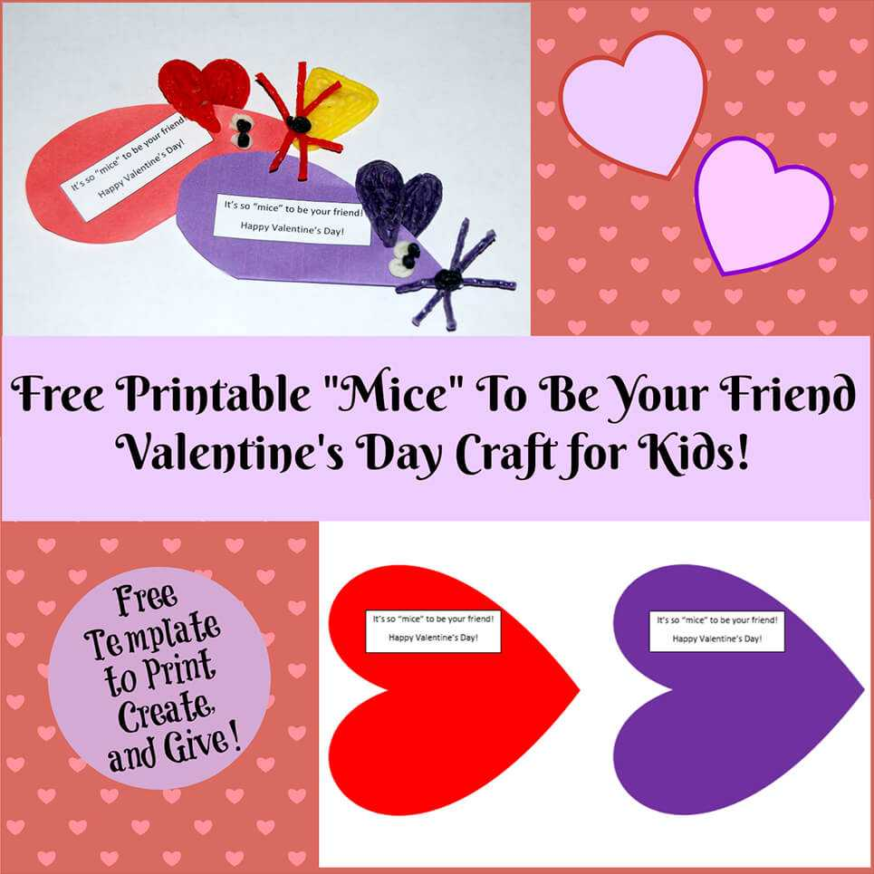 Valentine's Day Printable Card Crafts For Kids To Create throughout Valentine Card Template For Kids