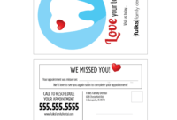 Variable Data Missed Appointment Reminder Card Templates throughout Dentist Appointment Card Template