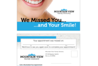 Variable Data Missed Appointment Reminder Card Templates with Dentist Appointment Card Template