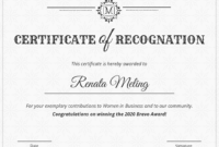 Vintage Certificate Of Recognition Template inside Template For Certificate Of Award