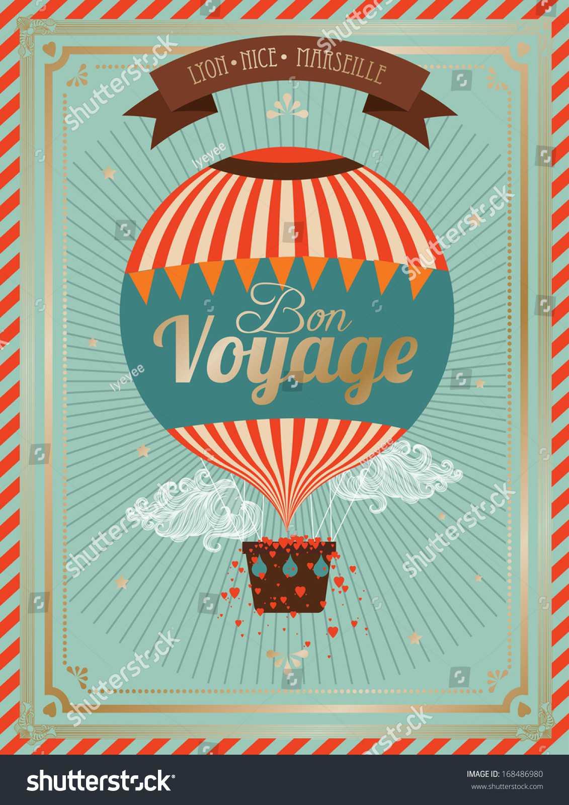 Vintage Hot Air Balloon Bon Voyage… Stock Photo 168486980 for Bon Voyage Card Template