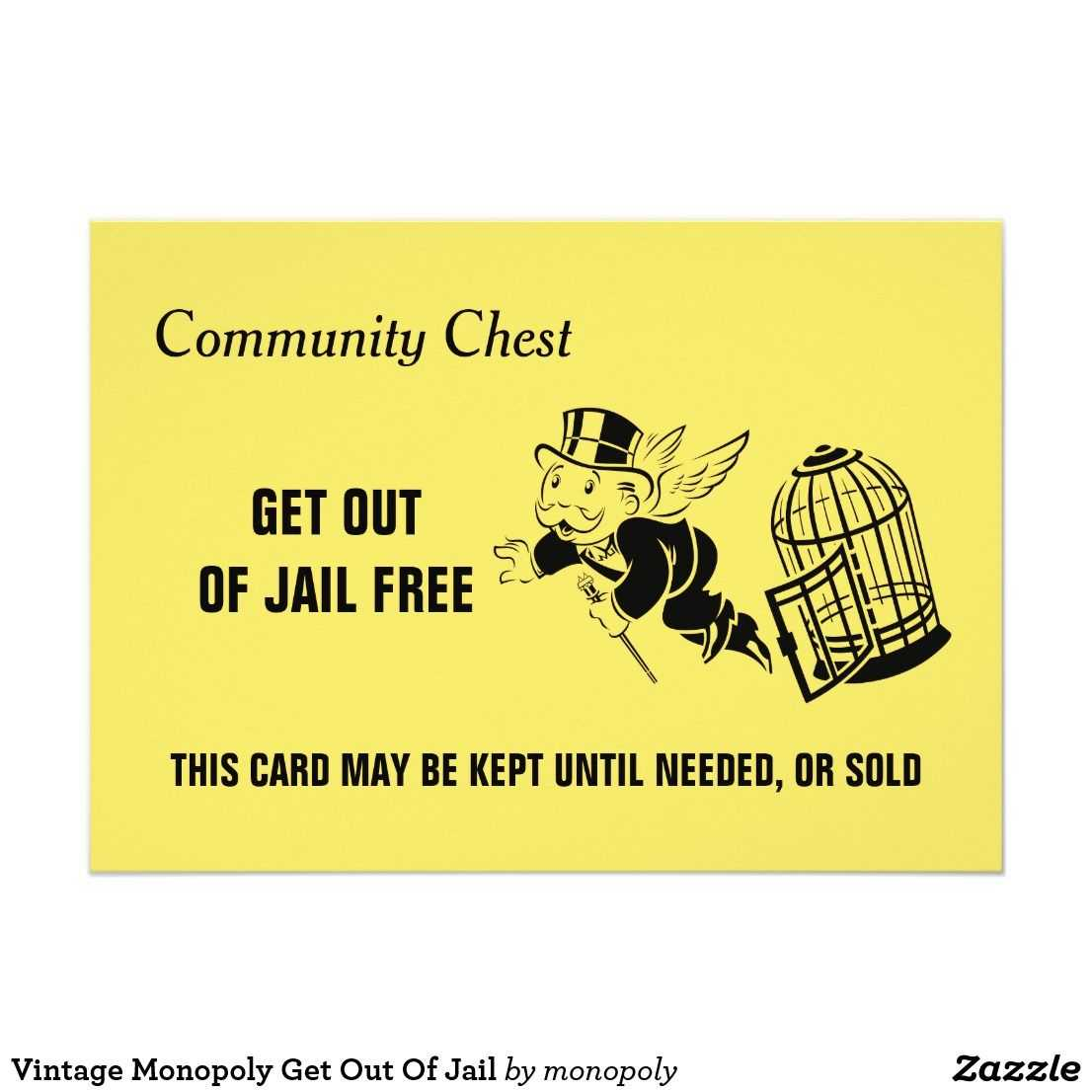 Vintage Monopoly Get Out Of Jail | Zazzle | Monopoly for Get Out Of Jail Free Card Template