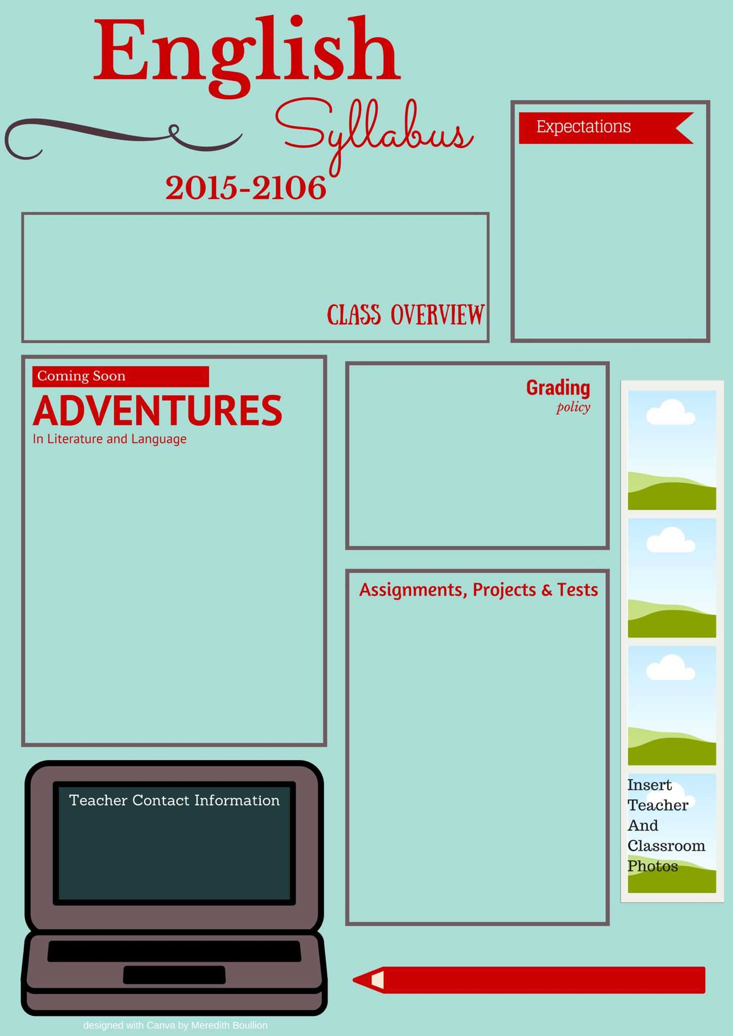 Visual Syllabus Template Made With Canva   High School Intended For Blank Syllabus Template