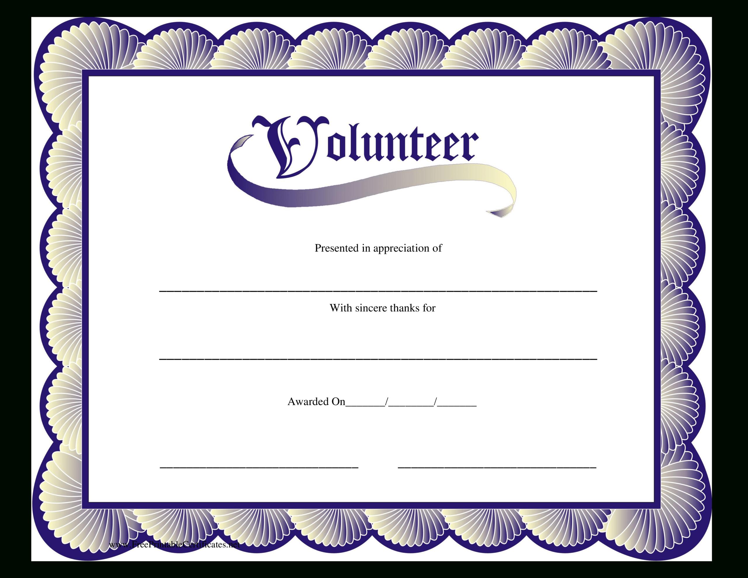 Volunteer Certificate | Templates At Allbusinesstemplates pertaining to Volunteer Certificate Template