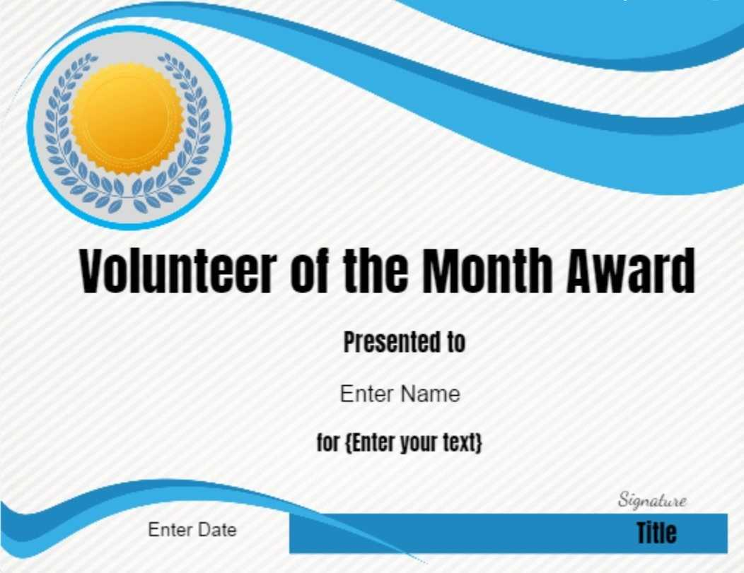 Volunteer Of The Month Certificate Template In 2019 for Volunteer Certificate Template