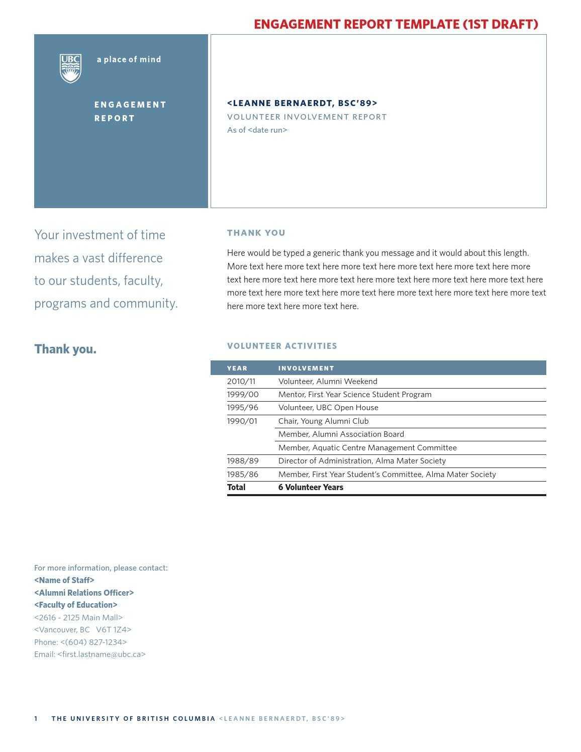 Volunteer Report Template - Cumed Throughout Volunteer Report Template