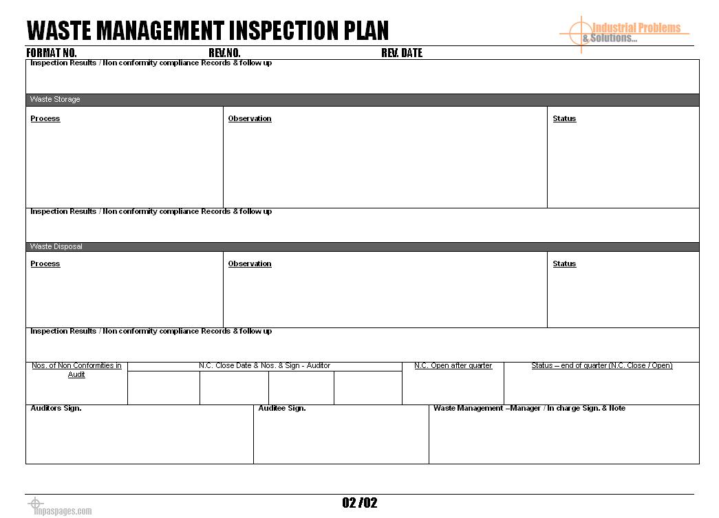Waste Management Inspection Plan Format For Waste Management Report Template