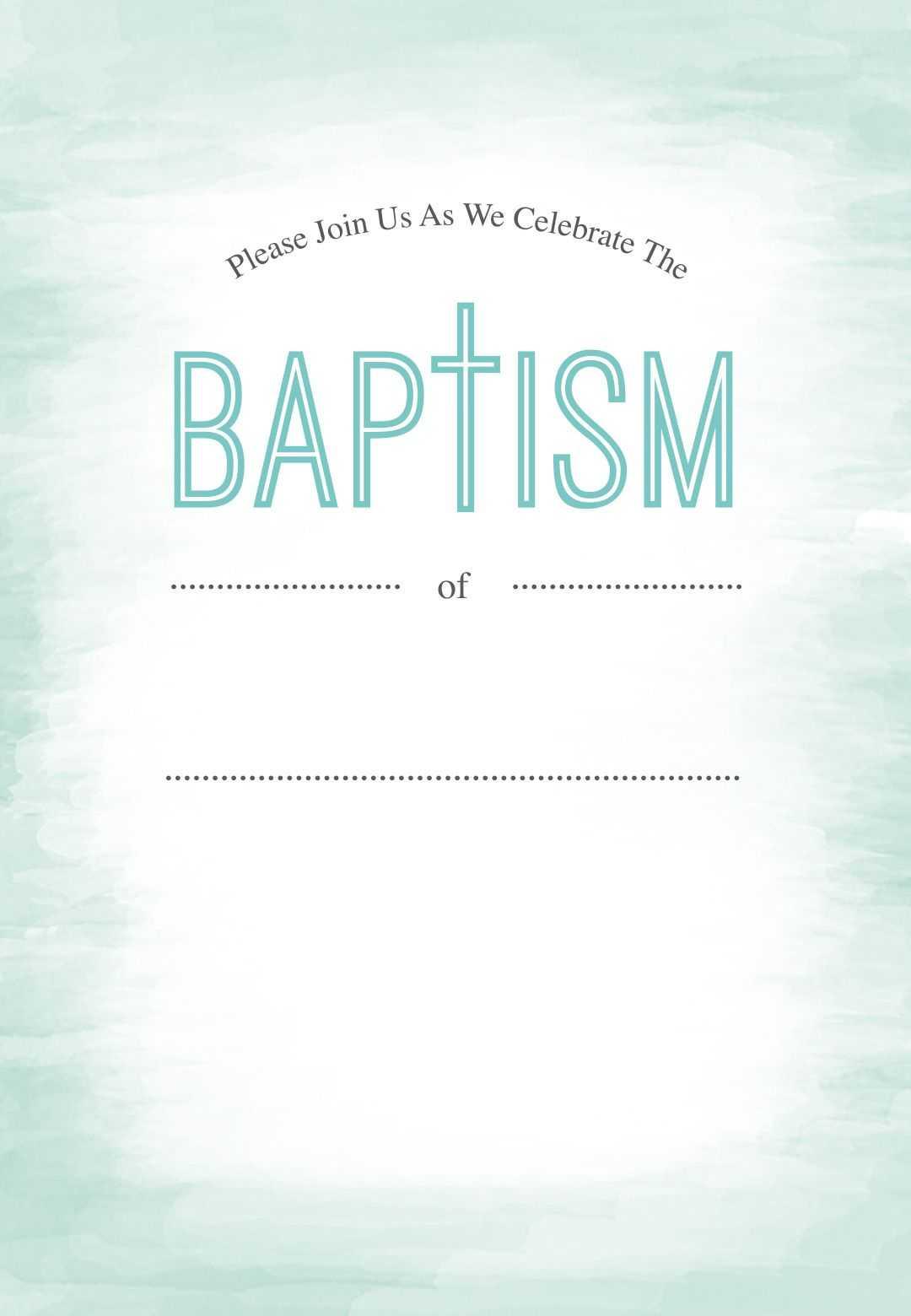 Water - Baptism & Christening Invitation Template (Free With Regard To Blank Christening Invitation Templates
