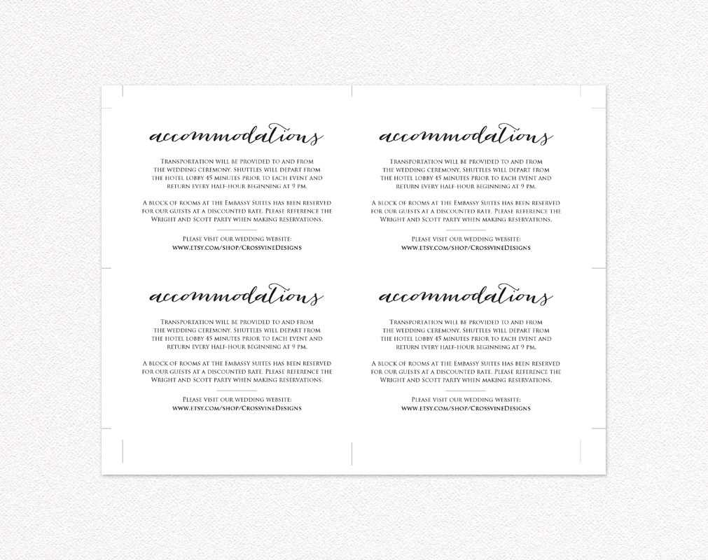 Wedding Accommodations Card Insert · Wedding Templates And For Wedding Hotel Information Card Template