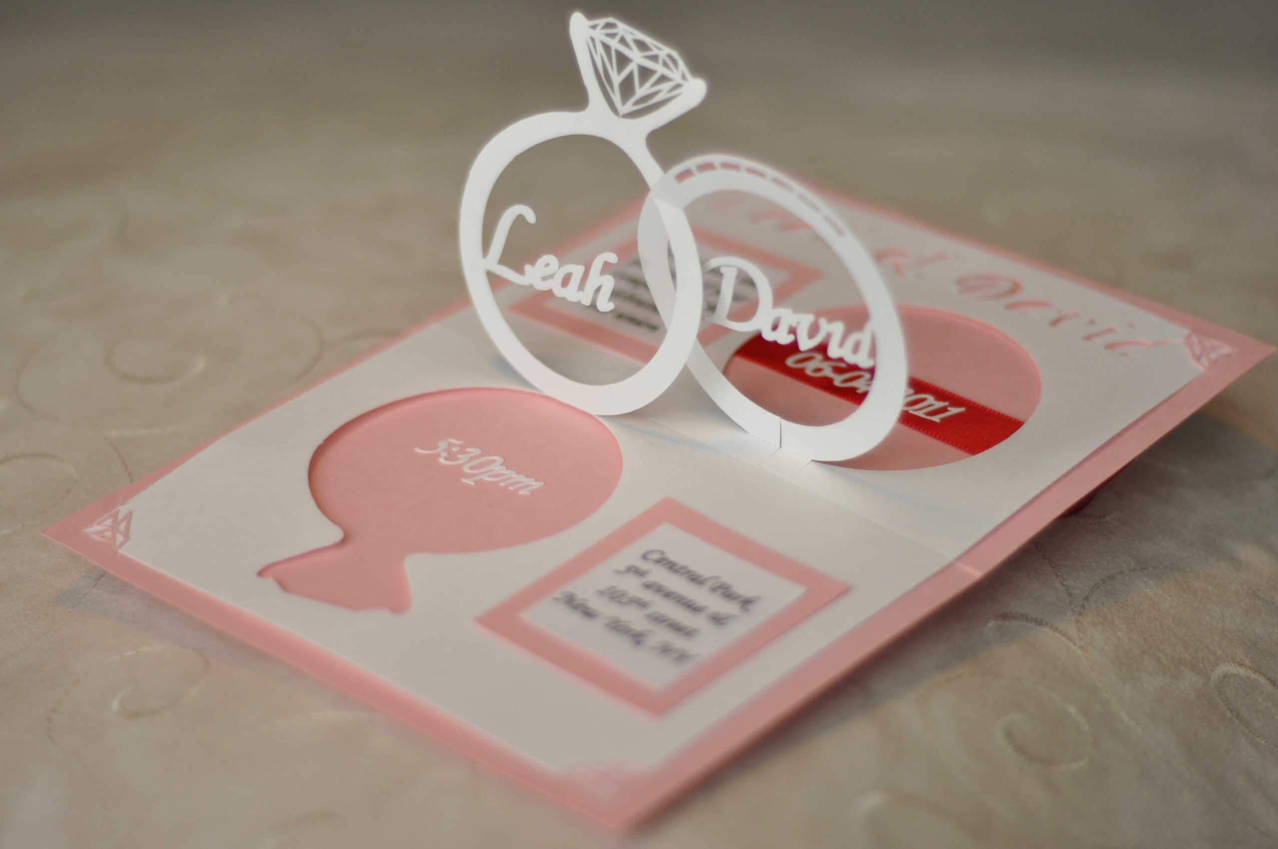 Wedding Invitation Linked Rings Pop Up Card Template In Pop Up Wedding Card Template Free
