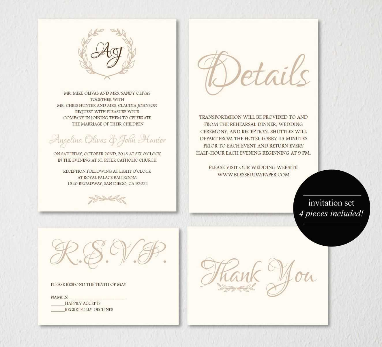 Wedding Invitation Printable/wedding Invitation Template Regarding Wedding Card Size Template