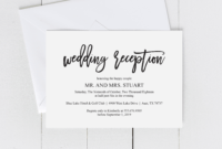 Wedding Reception Invitation Card Pdf Editable Template intended for Wedding Hotel Information Card Template