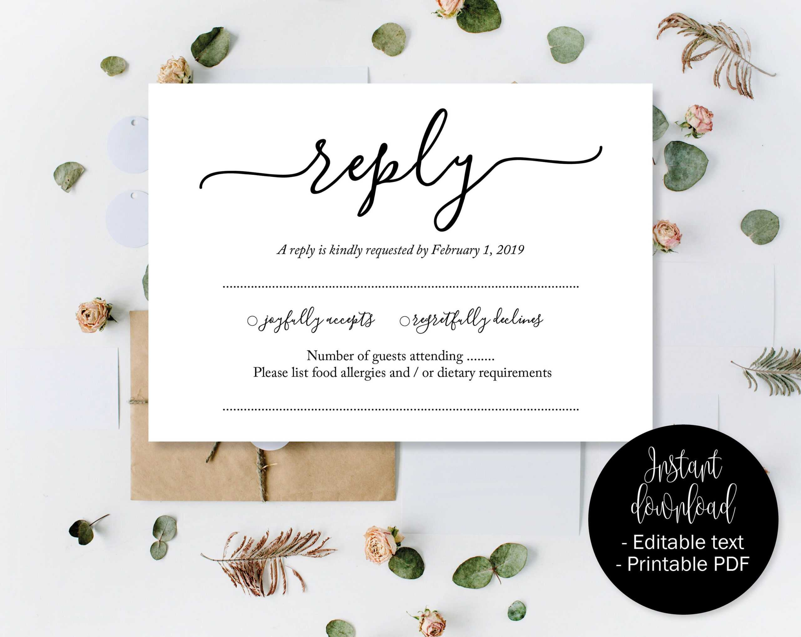 Wedding Rsvp Cards, Wedding Reply Attendance Acceptance Intended For Acceptance Card Template