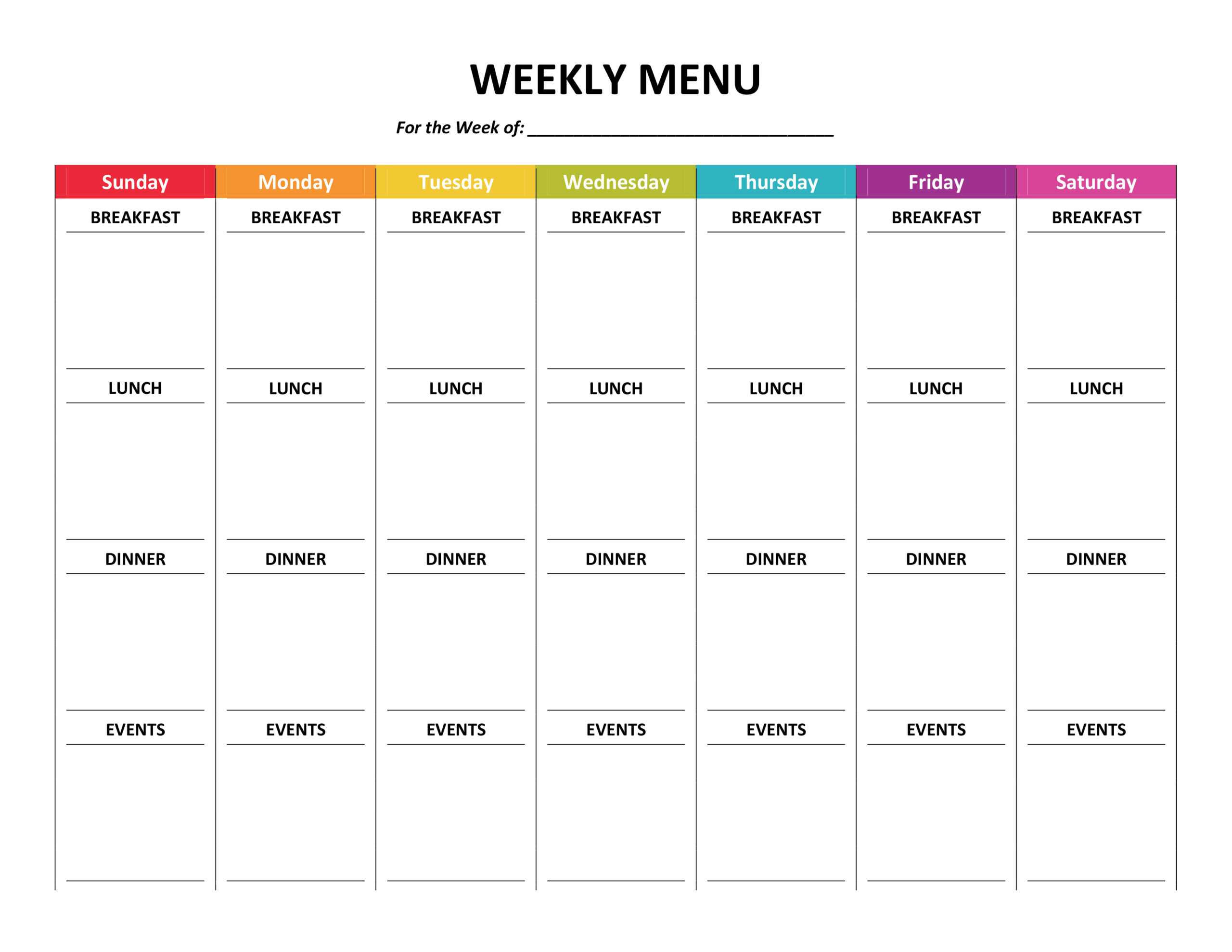 Weekly Meal Plan For The Family – Printable! | Myhappylittlelife pertaining to Weekly Meal Planner Template Word