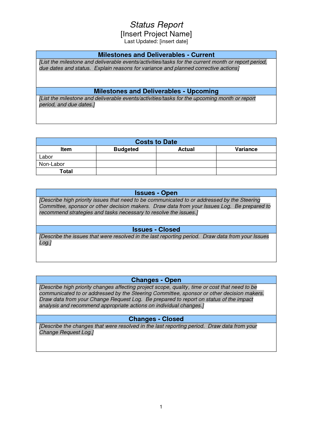 Weekly Project Status Report Sample – Google Search Pertaining To One Page Project Status Report Template