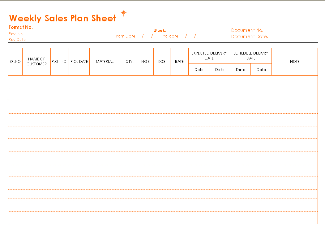Weekly Sales Plan Sheet Format pertaining to Sales Visit Report Template Downloads