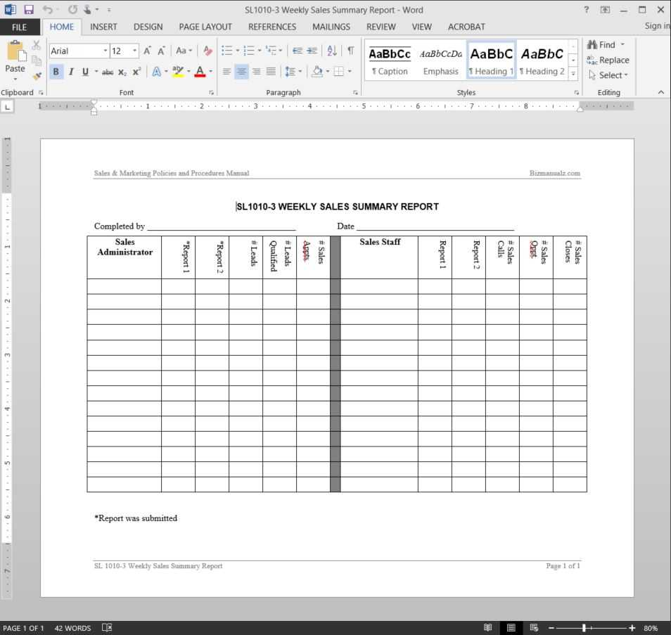 Weekly Sales Summary Report Template   Sl1010 3 Regarding Template For Summary Report