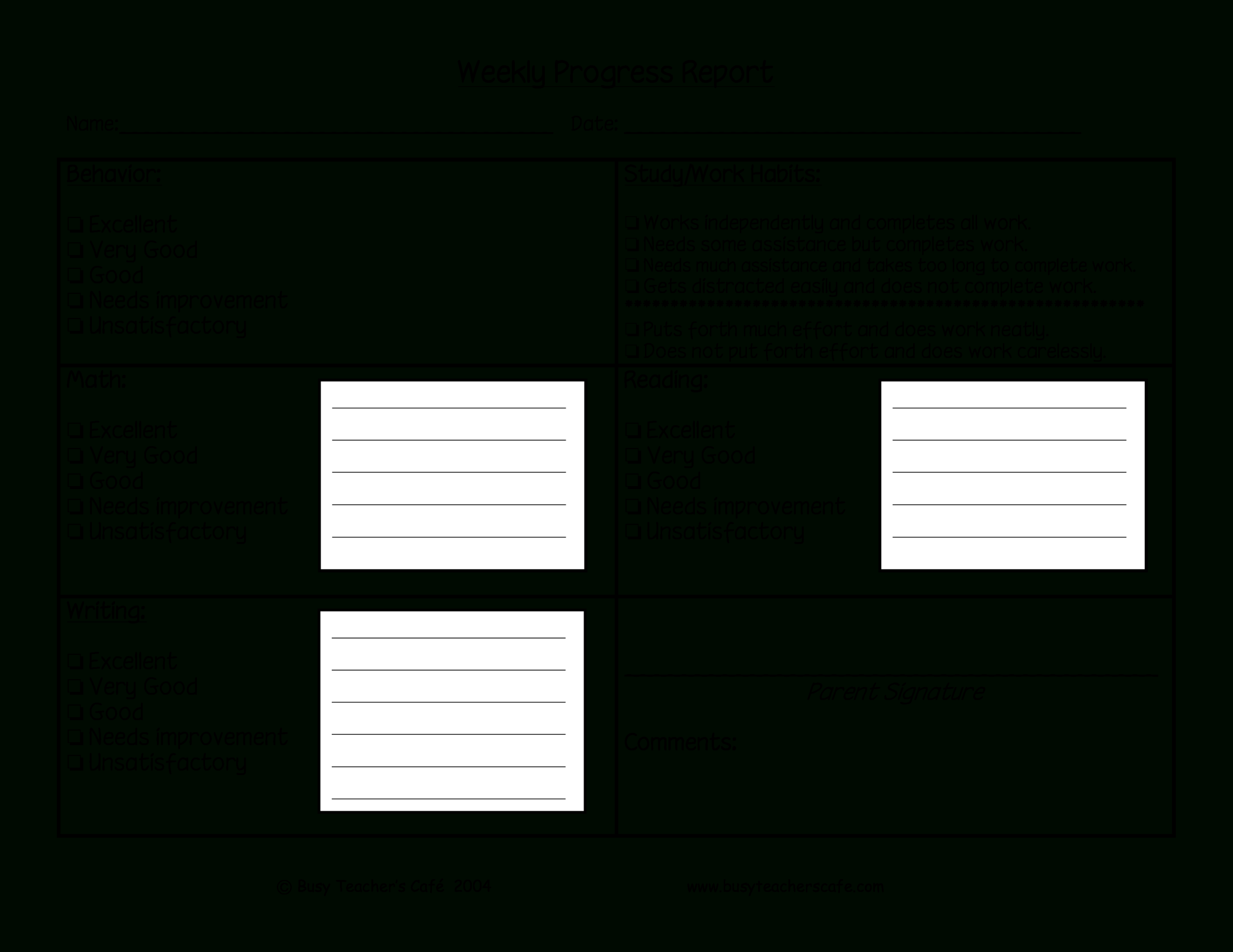 Weekly Student Behavior Report | Templates At Within Behaviour Report Template