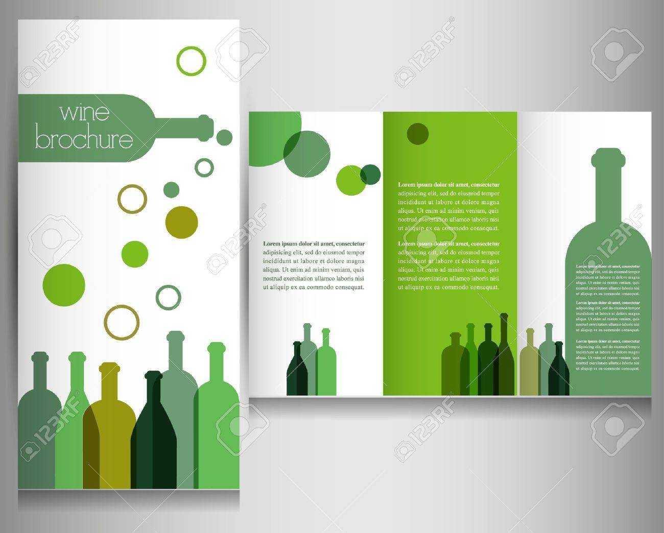 Wine Brochure Design Template Vector throughout Wine Brochure Template