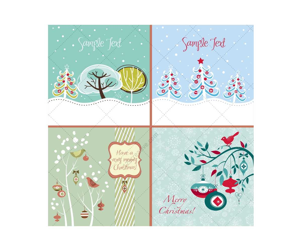 Winter And Christmas Vector Greeting Cards - Beautiful with regard to Adobe Illustrator Christmas Card Template