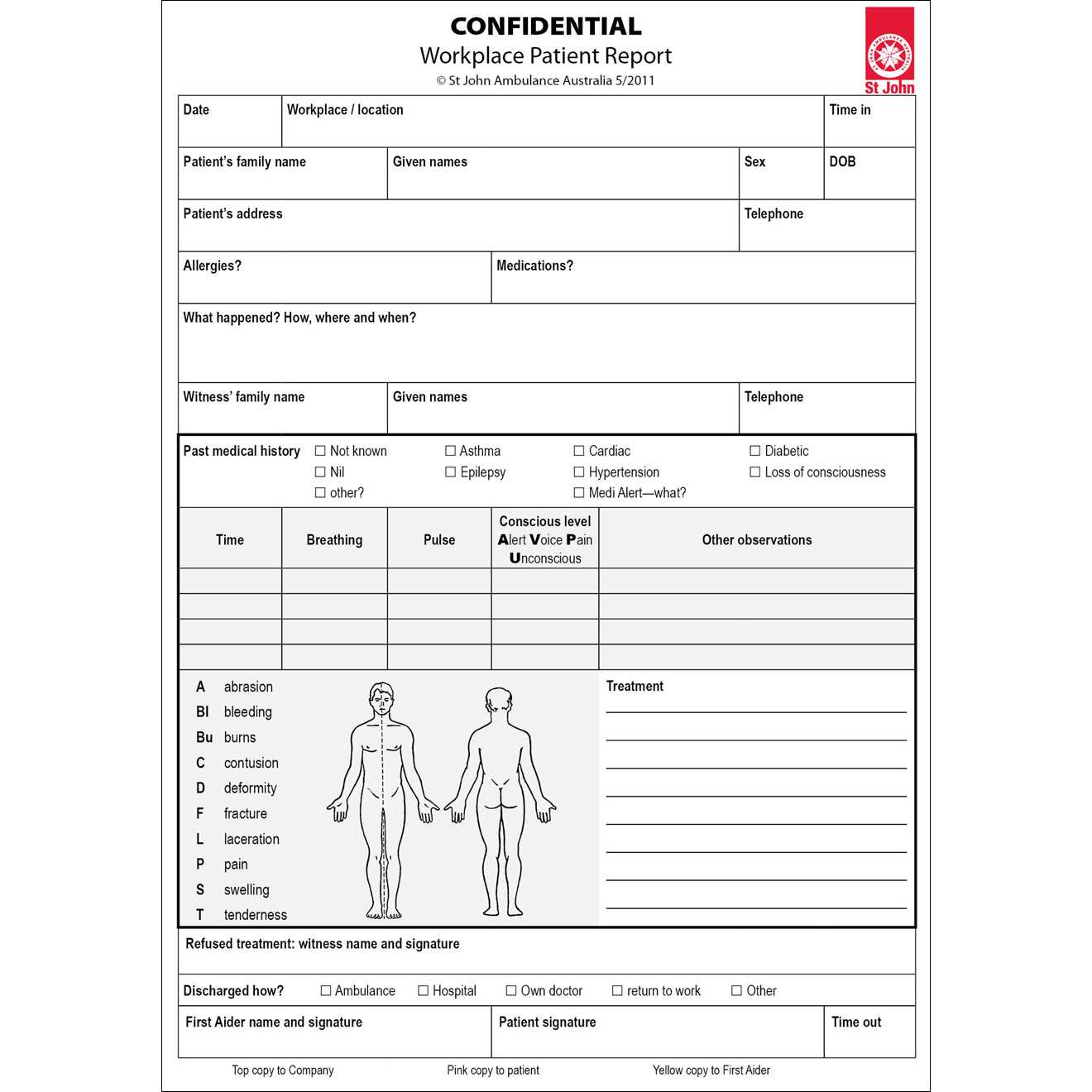 Workplace Patient Report Forms  10 Pack | St John Ambulance Throughout First Aid Incident Report Form Template