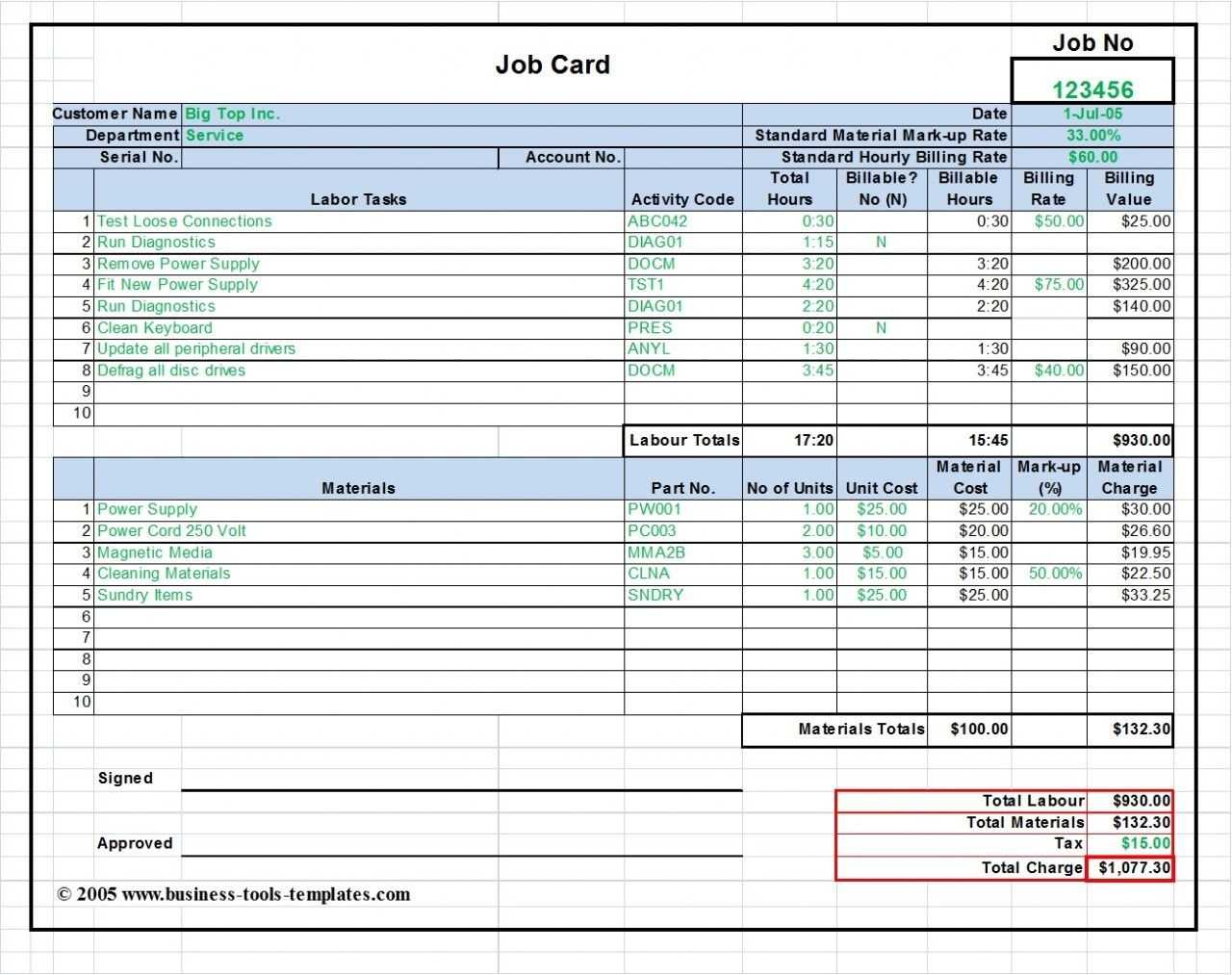 Workshop Job Card Template Excel, Labor & Material Cost within Rate Card Template Word