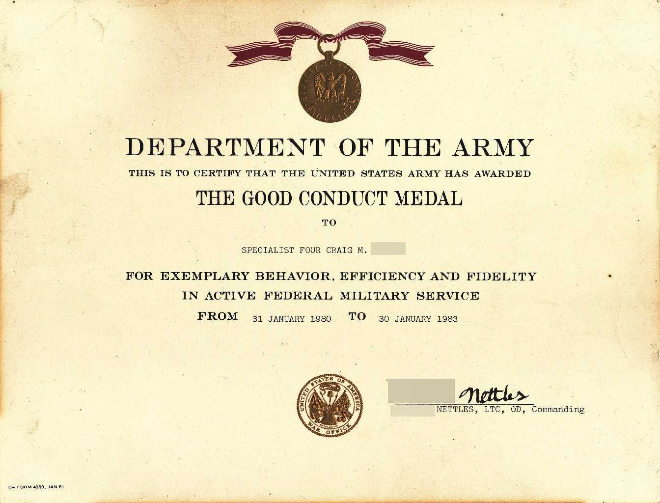 X12's Past Awards For Army Good Conduct Medal Certificate Template