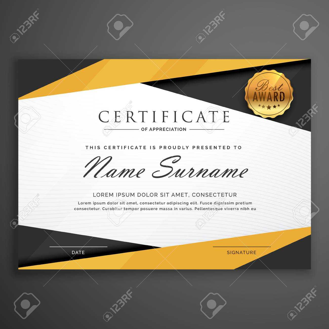 Yellow And Black Geometric Certificate Award Design Template Intended For Award Certificate Design Template