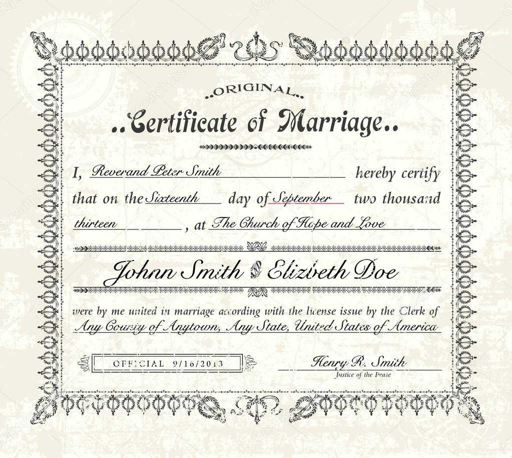 Antique Marriage Certificate Template | Vector Vintage throughout Certificate Of Marriage Template