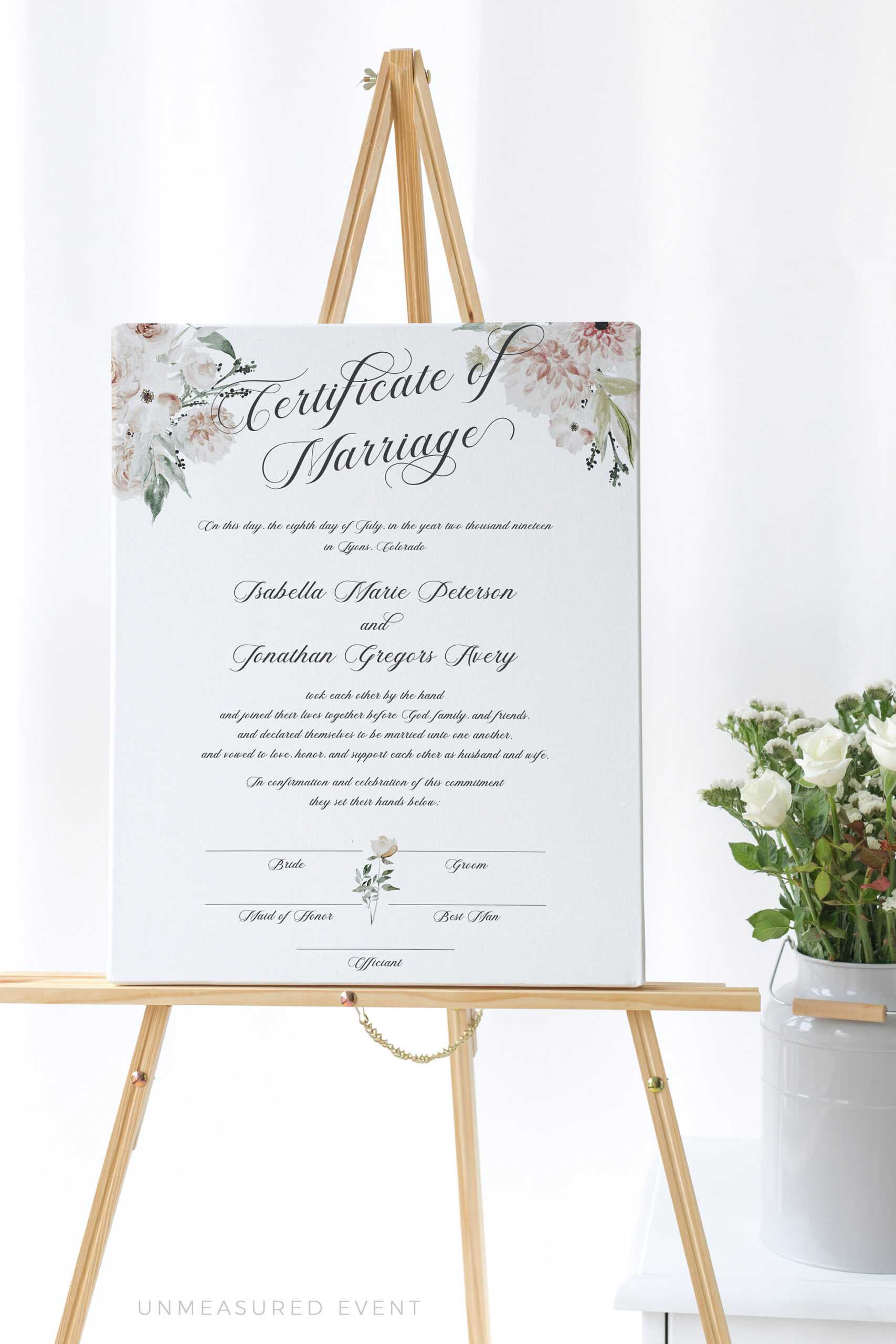 Blush Floral Marriage Certificate Template, Certificate Of Marriage,  Instant Download Wedding Vows, Marriage Certificate Download, #0029A for Certificate Of Marriage Template