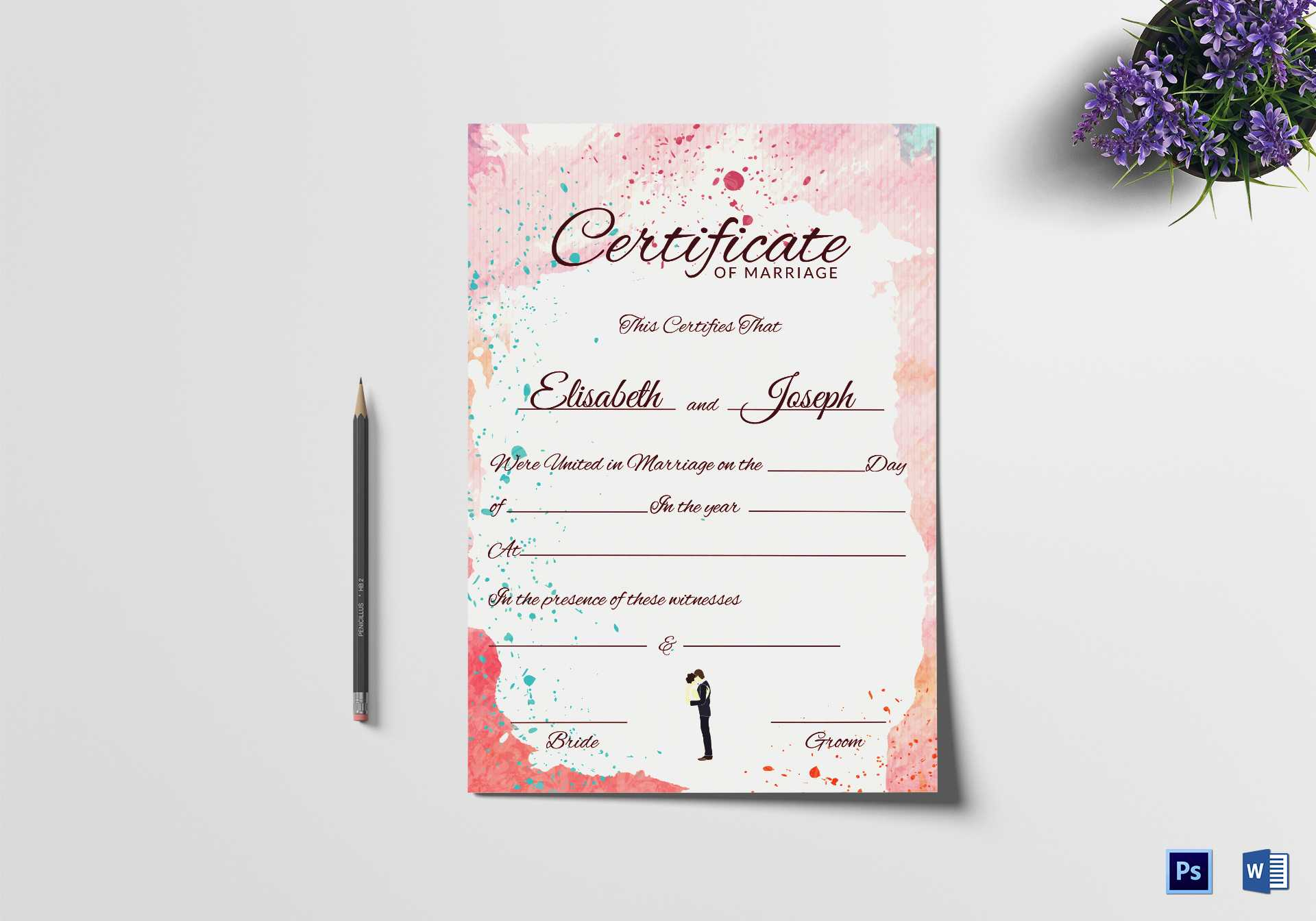 Christian Marriage Certificate Template with Certificate Of Marriage Template
