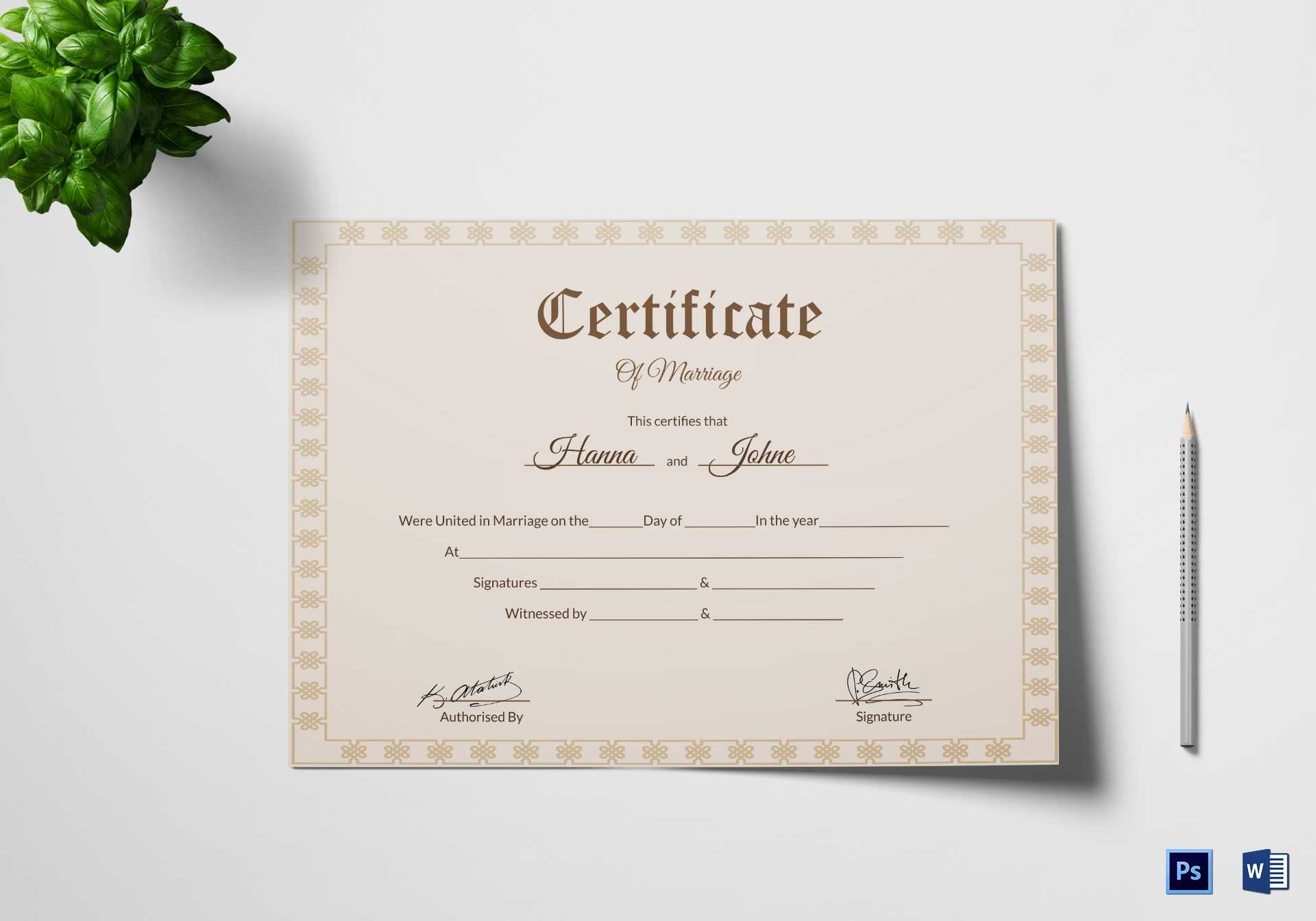 Simple Marriage Certificate Template for Certificate Of Marriage Template